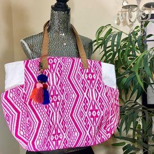 Handbags - Boho hot pink & metallic white weekender tote